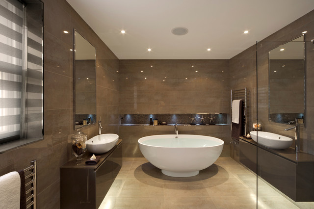 Bathtub Dimensions Bathroom Contemporary with Beige Stone Floor Brown