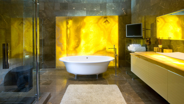 Bathtub Mat Bathroom Contemporary with Accent Wall Backlighting Bath