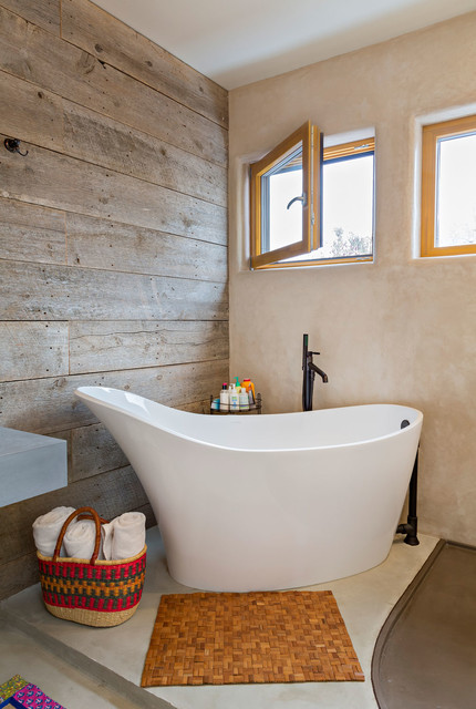 Bathtub Mat Bathroom Contemporary with Barn Wood Basket Bath