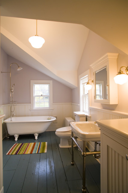 Bathtub Mat Bathroom Victorian with Beadboard Wainscoting Clawfoot Tub