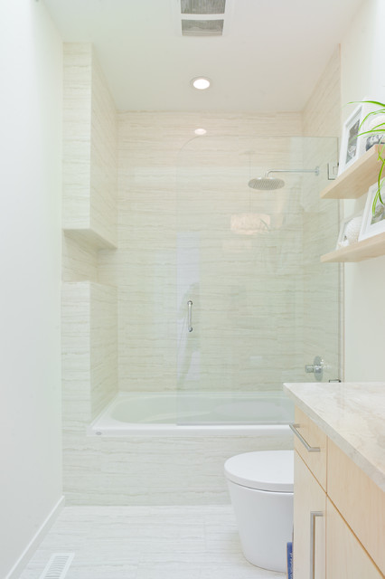 Bathtub Shower Combo Bathroom Contemporary with Bathroom Countertop Ceiling Lights