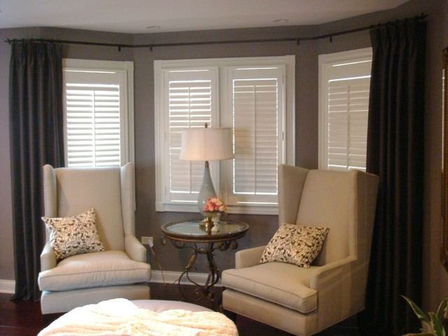 Bay Window Curtain Rod Bedroom Traditional with Bay Window Bay Window