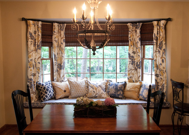 bay window curtain rod Dining Room Traditional with bay window Bay Window