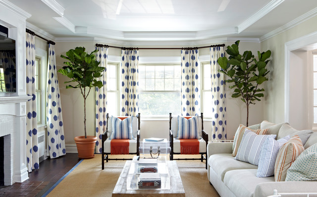 Bay Window Curtain Rod Living Room Beach with Blue and White Curtains