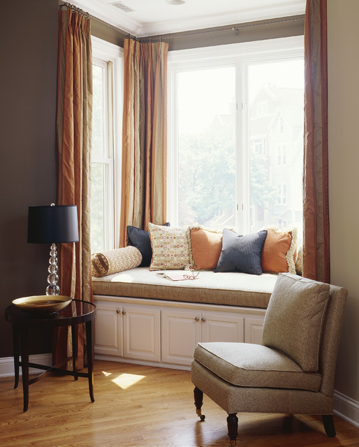 Bay Window Curtain Rod Living Room Contemporary with Accent Table Accent Wall