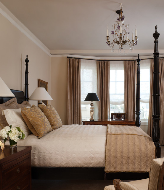Bay Window Curtain Rods Bedroom Traditional with Bay Window Bedroom Bedside