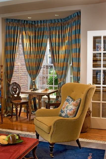 Bay Window Curtain Rods Family Room Traditional with Area Rug Bay Window