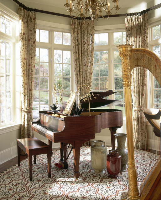 Bay Window Curtain Rods Living Room Traditional with Area Rug Baseboards Bay