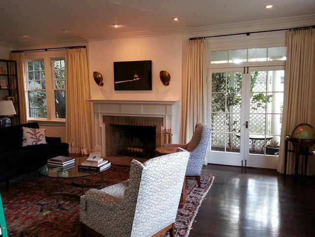 bay window curtain rods Living Room Transitional with bay window curtain rod