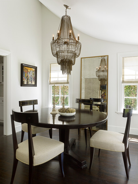 Beaded Chandelier Dining Room Transitional with Curved Ceiling Dark Wood