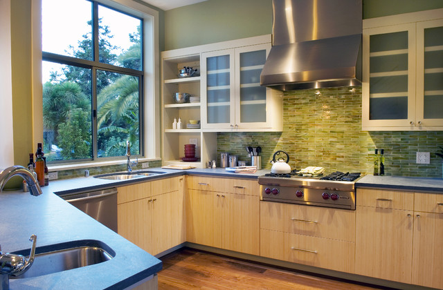 Bedrosians Tile Kitchen Contemporary with Gas Range Glass Front