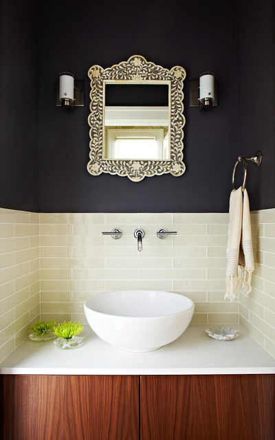 Bedrosians Tile Powder Room Contemporary with Bellmont Benjamin Moore Iron
