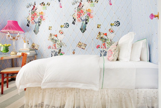 Bedskirt Bedroom Shabby Chic with Bedskirt Blue Wallpaper Bronwyn