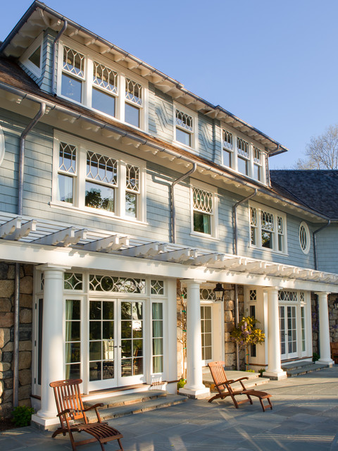 Benjamin Moore Exterior Paint Exterior Traditional with Architectural Elements Bluestone Patio