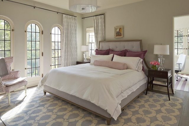 Benjamin Moore Gray Owl Bedroom Transitional with Arched Windows Blue Contemporary
