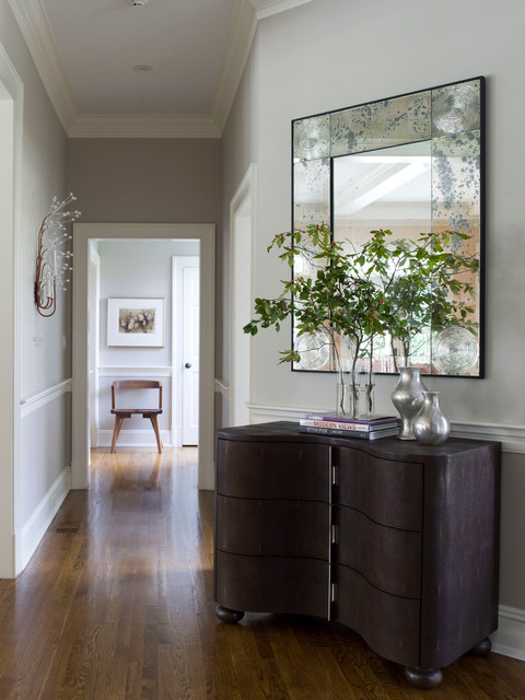 Benjamin Moore Revere Pewter Hall Contemporary with Aspen Ball Feet Baseboard