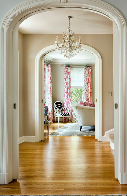 Benjamin Moore Revere Pewter Hall Transitional with Arch Beige Black Chandelier