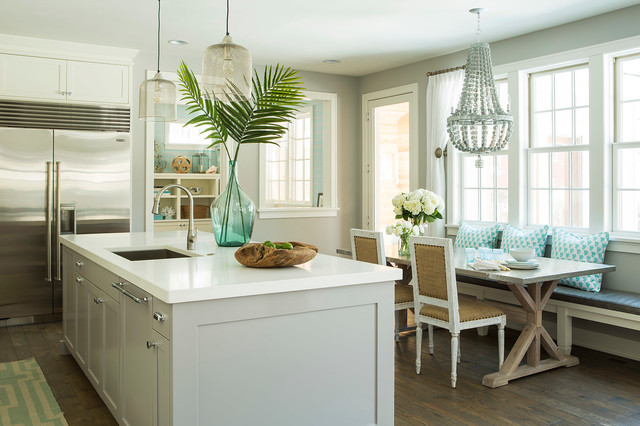 Benjamin Moore Stonington Gray Kitchen Beach with Banquette Seating Beach Beach