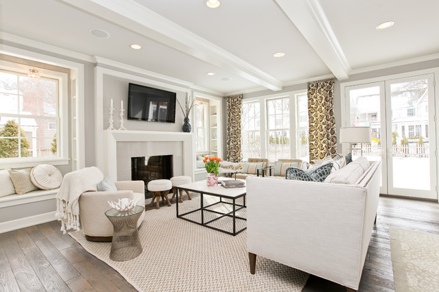 Benjamin Moore Stonington Gray Living Room Transitional with Ceiling Lighting Curtains Decorative