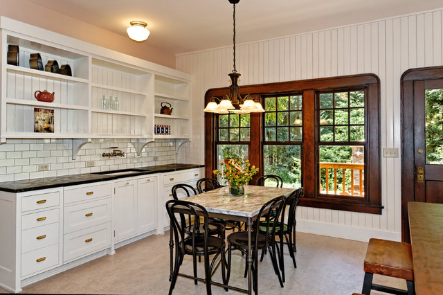 Bentwood Chairs Kitchen Traditional with Baseboard Beadboard Behind Shelves