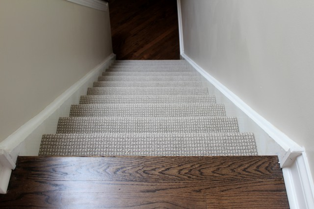 Berber Carpet Staircase Traditional with 45 Degrees Wood Floor
