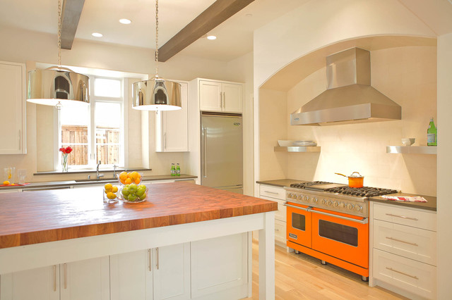 Bertazzoni Range Kitchen Contemporary with Arch Butcher Block Ceiling