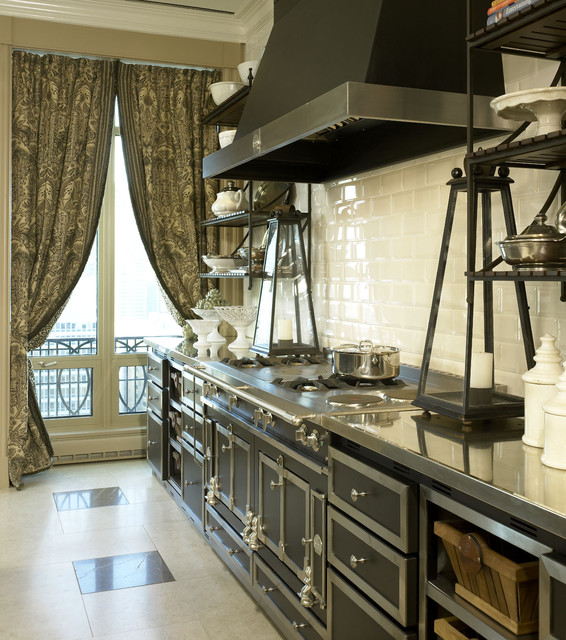 Bertazzoni Range Kitchen Traditional with Curtains Drapes Floor Tile