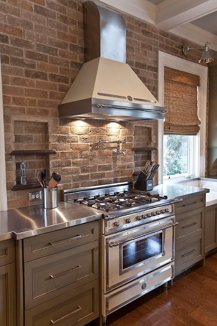 Bertazzoni Range Kitchen Transitional with Appliances Bamboo Shades Brick