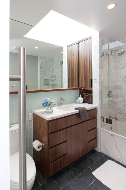 Bertch Cabinets Bathroom Midcentury with Carrara Dark Stained Wood