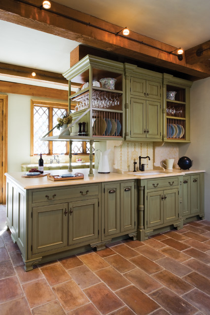 bertch cabinets Kitchen Mediterranean with beige countertop brown stone