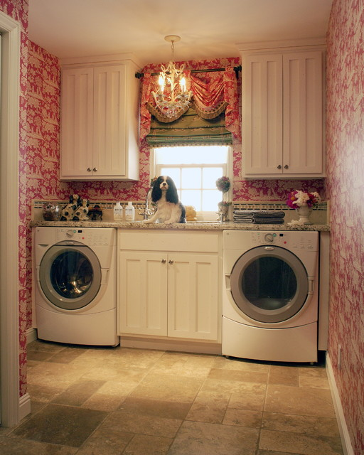 Bertch Cabinets Laundry Room Traditional with Beige Stone Floor Crystal