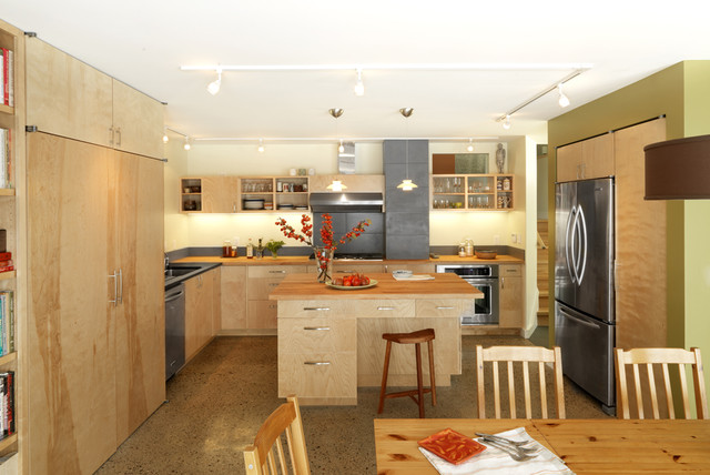 Besa Lighting Kitchen Contemporary with Concrete Floors Eat in Kitchen