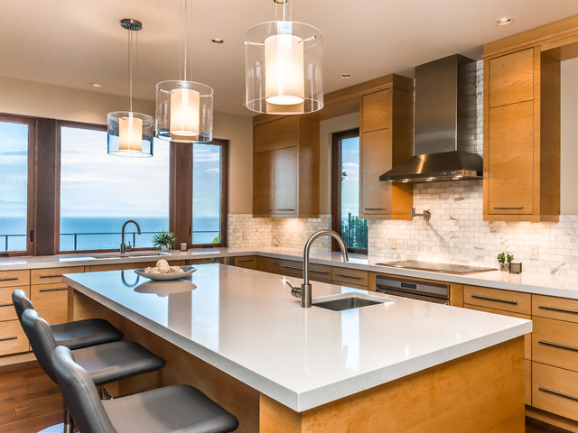 Besa Lighting Kitchen Contemporary with Cooktop Gray Counter Stools