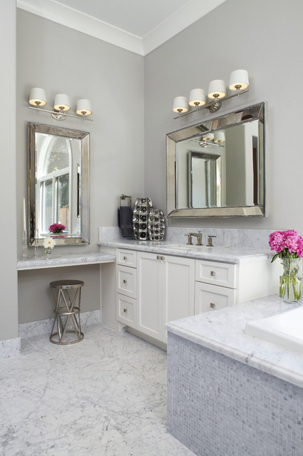 Beveled Mirror Bathroom Transitional with 6 Inch Back Splash