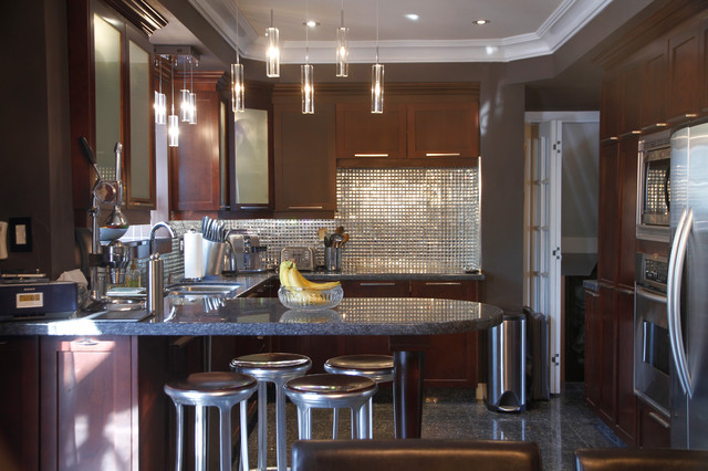Beveled Mirror Kitchen Contemporary with Brown Wall Dark Brown