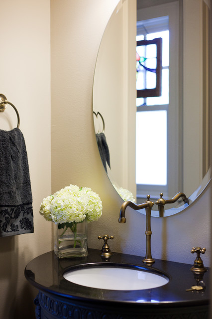 Beveled Mirror Powder Room Traditional with Bath Fixtures Beveled Mirror