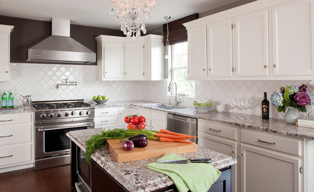 Bianco Antico Granite Kitchen Contemporary with Arabesque Tile Bianco Antico1