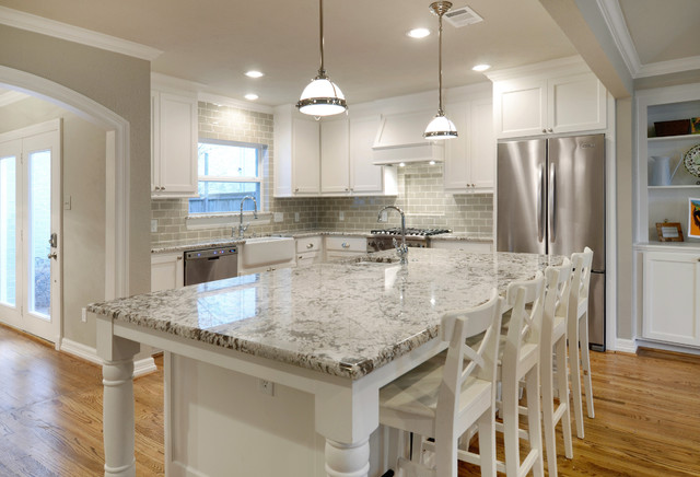 Bianco Antico Granite Kitchen Traditional with Ann Sacks Subway Tile