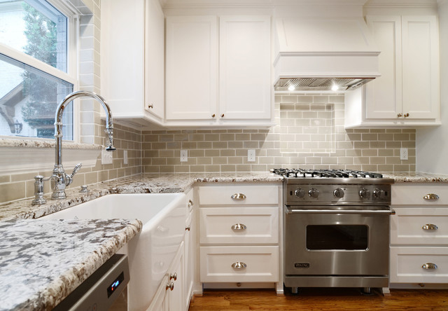Bianco Antico Granite Kitchen Traditional with Ann Sacks Subway Tile3