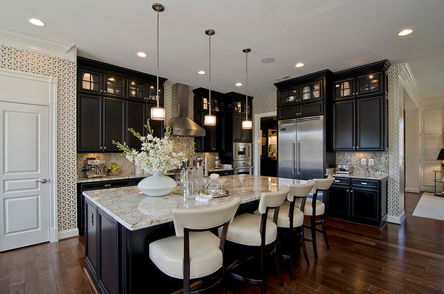 bianco antico granite Kitchen Traditional with baseboards black cabinets breakfast