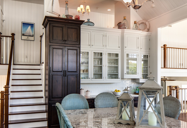 Bianco Antico Granite Kitchen Traditional with Beach H Beach House1