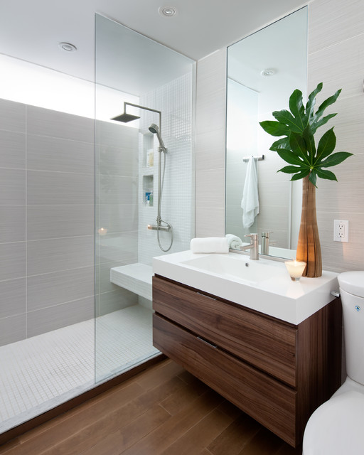 Bidet Sprayer Bathroom Contemporary with Clerestory Windows Floating Vanity
