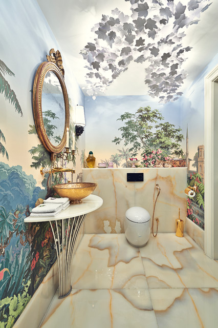 Bidet Sprayer Bathroom Eclectic with Bathroom Mural Cloakroom Downstairs