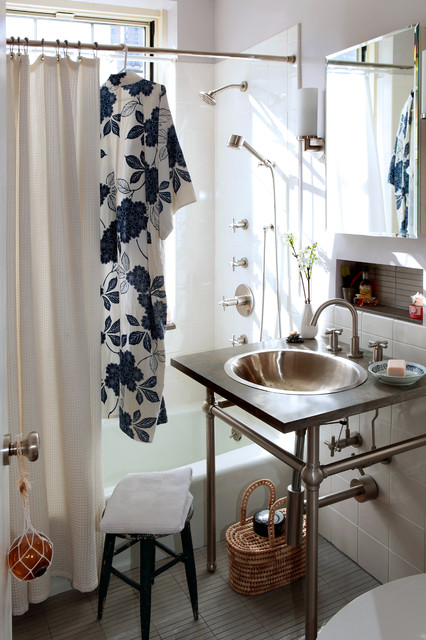 Bidet Sprayer Bathroom Eclectic with Inset Shelves Limestone Countertop