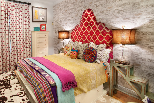 Billows Electric Bedroom Eclectic with Bed Storage Bedding Colorful