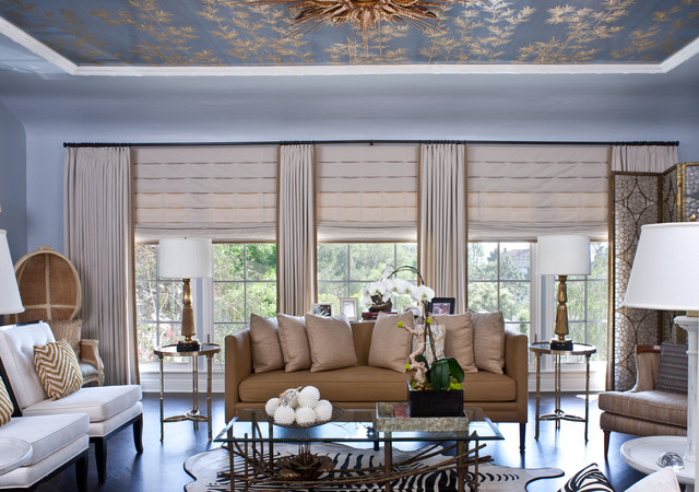 Black Out Blinds Living Room Transitional with Baseboards Ceiling Treatment Curtains