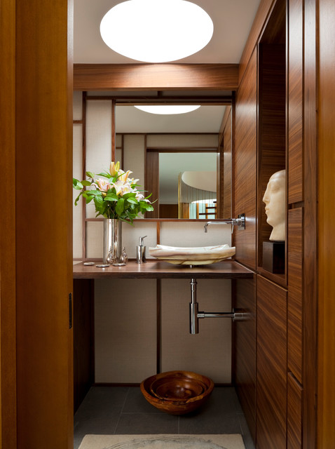 Blackman Plumbing Supply Powder Room Contemporary with Clerestory Exposed Plumbing Glass
