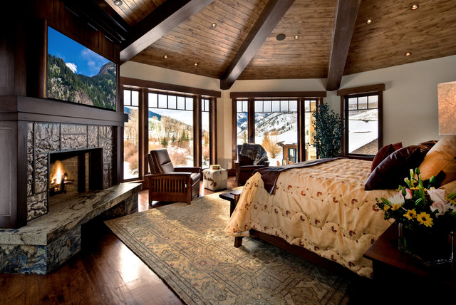 blackout roller shades Bedroom Traditional with cabin ceiling lighting corner