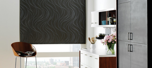 Blackout Roller Shades Family Room Modern with Accent Window Fashions Bedroom