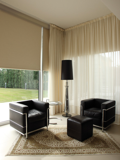 Blackout Roller Shades Living Room Modern with Arched Window Fashions Bay
